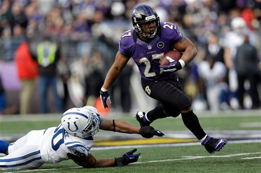  Baltimore Ravens running back Ray Rice (27) runs with the ball and gets away from Indianapolis Colts inside linebacker Jerrell Freeman (50), for a 47 yard gain, during the first half of an NFL wild card playoff football game Sunday, Jan. 6, 2013.