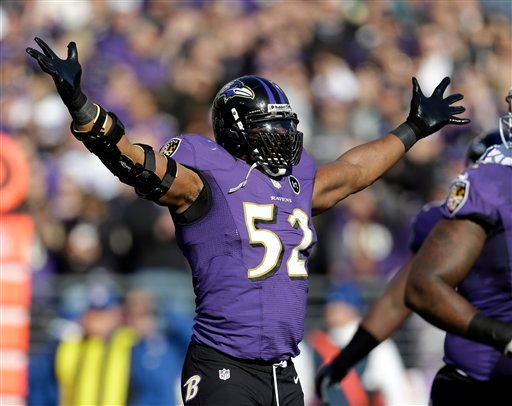 © Baltimore Ravens inside linebacker Ray Lewis (52) celebrates after a play during the first half of an NFL wild card playoff football game against the Indianapolis Colts Sunday, Jan. 6, 2013, in Baltimore.