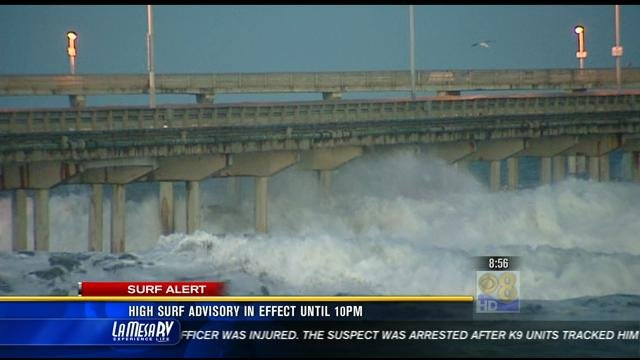 This is a video screen image of waves in Ocean Beach the morning of Monday, January 7, 2013.