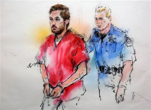 © This courtroom sketch shows James Holmes being escorted by a deputy as he arrives at preliminary hearing in district court in Centennial, Colo., on Monday, Jan. 7, 2013.