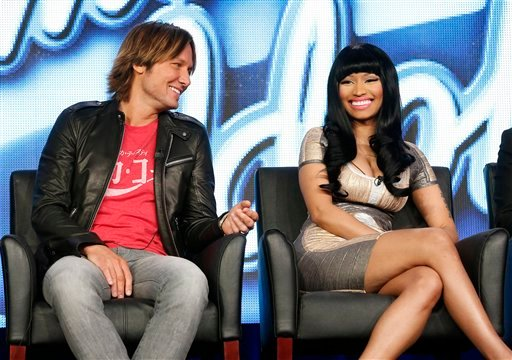 "Keith Urban and Nicki Minaj from ""American Idol"" attend the Fox Winter TCA Tour at the Langham Huntington Hotel on Tuesday, Jan. 8, 2013, in Pasadena, Calif. (Photo by Todd Williamson/Invision/AP)"