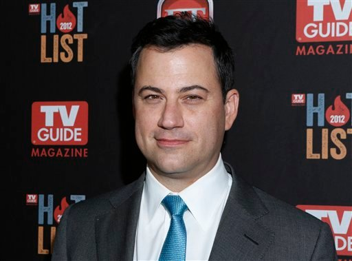 FILE - This Nov. 12, 2012 file photo shows Jimmy Kimmel at the TV Guide Magazine's 2012 Hot List Party at Skybar at the Mondrian Hotel in West Hollywood, Calif. (Photo by Todd Williamson/Invision/AP, file)