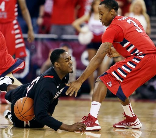 San Diego State's Jamaal Franklin battles Fresno State's Kevin Olekaibe during the first half of their NCAA college basketball game, Wednesday, Jan. 9, 2013, in Fresno, Calif. (AP Photo/Gary Kazanjian)