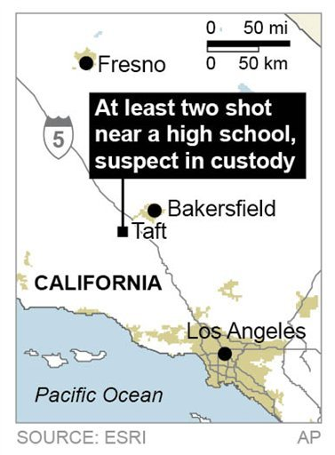 Map locates a shooting in Taft Calif., where at least two are shot near a high school.