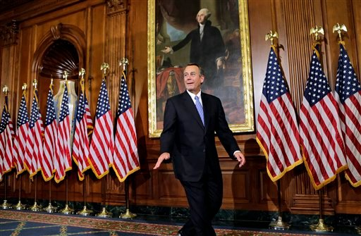 In this Jan. 3, 2013, photo, House Speaker John Boehner of Ohio, leaves after a three hour photo session with members of the new 113th Congress that convened earlier in the day. (AP Photo/J. Scott Applewhite)
