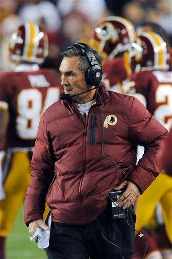 In this Sunday, Jan. 6, 2013, photo, Washington Redskins coach Mike Shanahan watches during the first half of an NFL wild card playoff football game against the Seattle Seahawks in Landover, Md. (AP Photo/Richard Lipski)