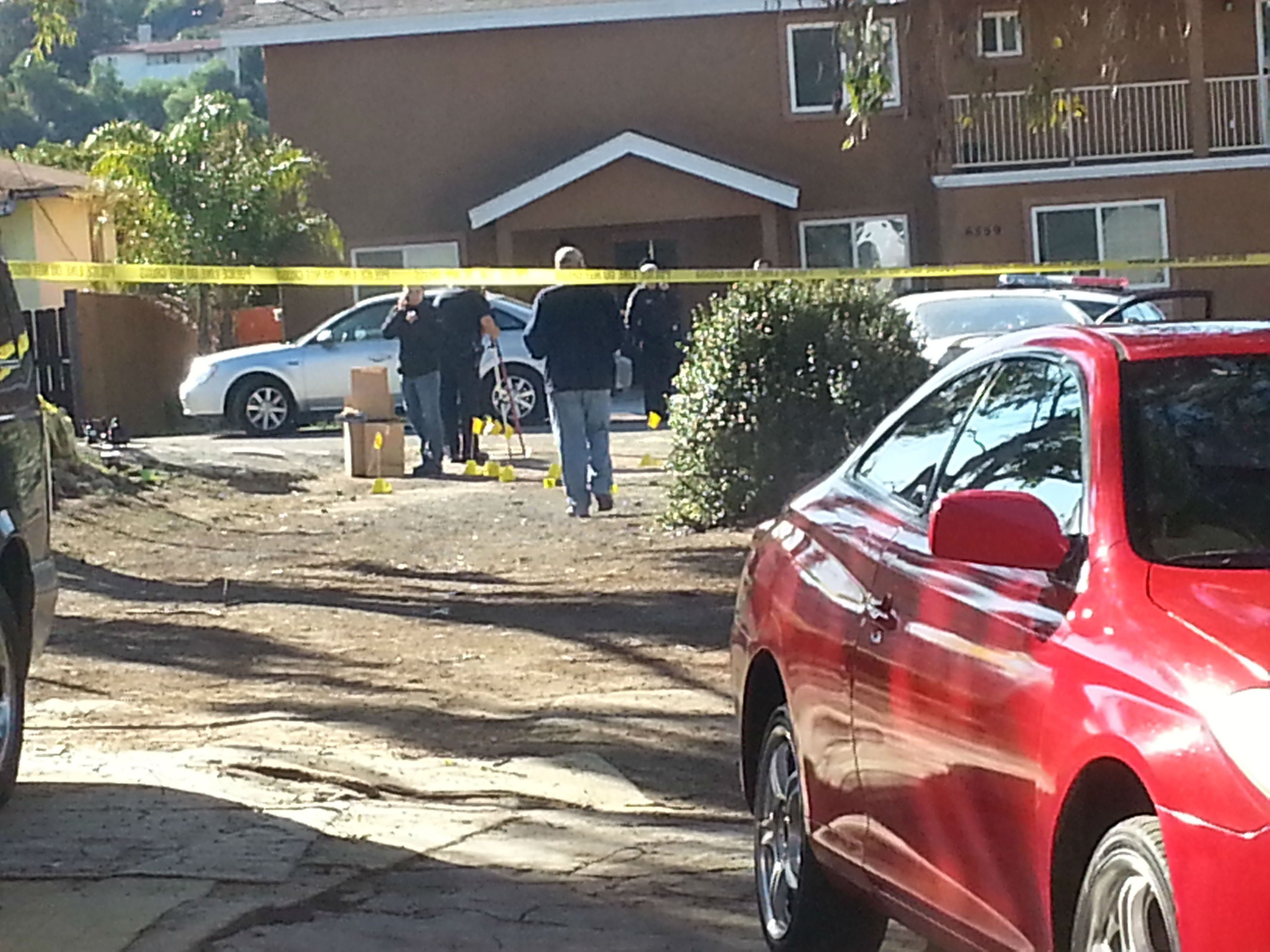 Police investigate an officer-involved shooting in Encanto, photo courtesy Alicia Quispe.