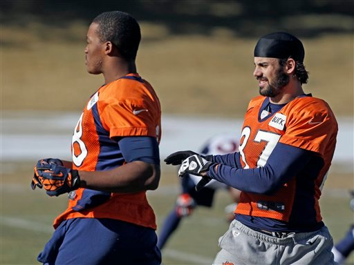 © Denver Broncos wide receivers Demaryius Thomas and Eric Decker stretch at football practice at the team's training facility in Englewood, Colo., on Wednesday, Jan.9, 2013.