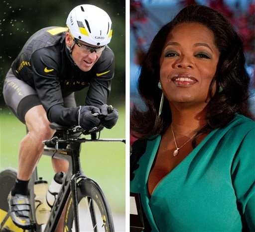  This combination image made of file photos shows Lance Armstrong, left, on Oct. 7, 2012, and Oprah Winfrey, right, on March 9, 2012. Armstrong plans to admit to doping throughout his career during an upcoming interview with Oprah Winfrey.