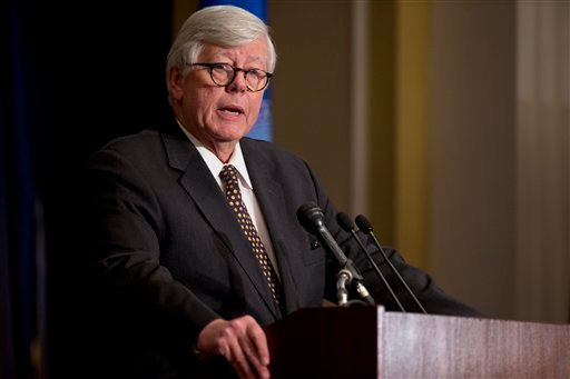  In this Dec. 21, 2012, file photo, NRA president David Keene speaks during a news conference in response to the Connecticut school shooting in Washington.