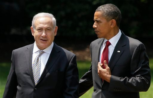 © In this July 6, 2010, file photo, President Barack Obama, right, talks with Israeli Prime Minister Benjamin Netanyahu as they walk to Netanyahu's car outside the Oval Office of the White House in Washington.