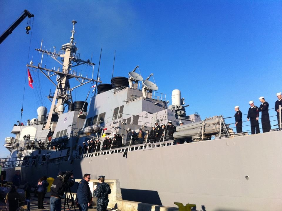 © USS Higgins ready to leave San Diego. Photo courtesy News 8 photojournalist Julio Vazquez.