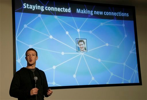 © Facebook CEO Mark Zuckerberg speaks about Facebook Graph Search at a Facebook headquarters in Menlo Park, Calif., Tuesday, Jan. 15, 2013.