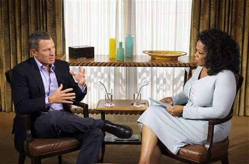 "Jan. 14, 2013 photo from Harpo Studios Inc.: Oprah Winfrey interviews cyclist Lance Armstrong during taping for the show ""Oprah and Lance Armstrong: The Worldwide Exclusive"" in Austin, Texas. (AP Photo/Courtesy of Harpo Studios, Inc., George Burns)"