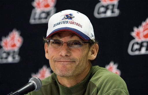 his Nov. 22, 2008 file photo shows Montreal Alouettes head football coach Marc Trestman during a press conference in Montreal. (AP Photo/The Canadian Press, Nathan Denette, File)