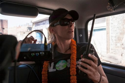 "This undated publicity photo released by Columbia Pictures Industries, Inc. shows Director/Producer, Kathryn Bigelow, on the set of Columbia Pictures' thriller, ""Zero Dark Thirty."" (AP Photo/Columbia Pictures Industries, Inc., Jonathan Olley)"