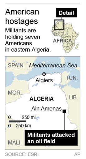 Map locates Ain Amenas, Algeria where American hostages were taken