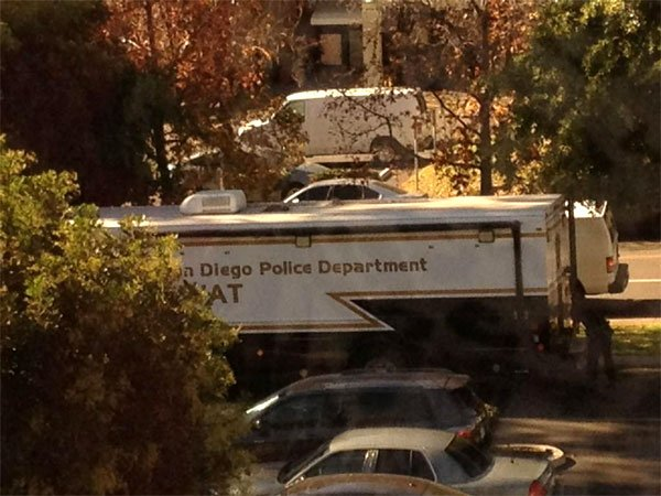 This picture shows the SDPD SWAT team on site at  Reservoir Drive. Photo courtesy of: @PinkSatchelGirl sent in via @CBS8.