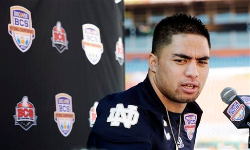 © In this Jan. 5, 2013, file photo, Notre Dame linebacker Manti Te'o answers a question during media day for the BCS national championship NCAA college football game in Miami.