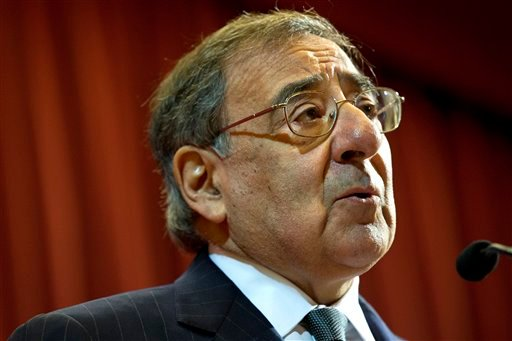 "© U.S. Defense Secretary Leon Panetta speaks about the situation in Algeria, at the start of his remarks at King's College in London on Friday, Jan. 18, 2013, saying there will be ""no quarter for terrorists in North Africa."""