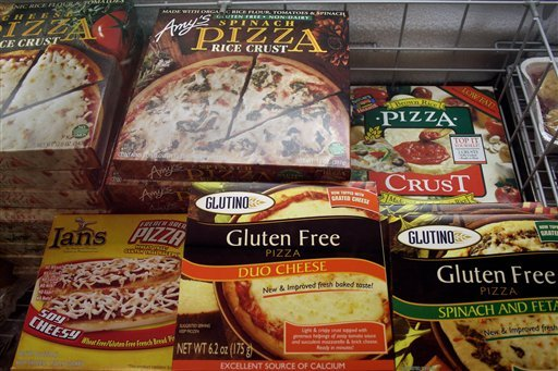  This Nov. 11, 2008, file photo, shows gluten-free frozen pizza, just one of hundreds of items at Gluten Free Trading Co. in Milwaukee.