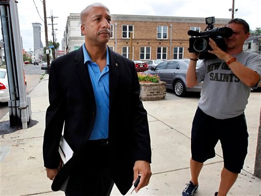 FILE - In this Wednesday, June 22, 2011 file photo, former Mayor Ray Nagin arrives to talk about his new book, &quot;Katrina's Secrets,&quot; at a news conference in New Orleans. (AP Photo/Gerald Herbert, File)