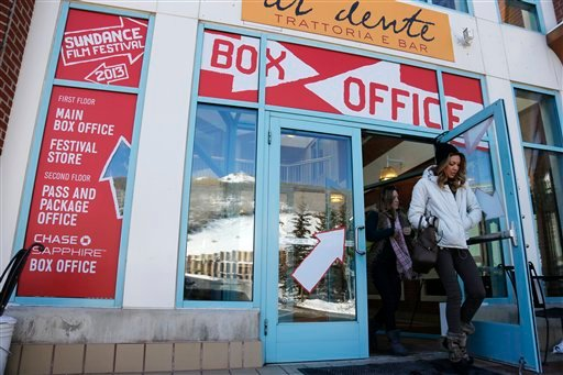 Women leave the ticket box office during the 2013 Sundance Film Festival on Thursday, Jan. 17, 2013 in Park City, Utah. (Photo by Danny Moloshok/Invision/AP)