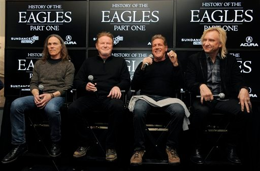 © From left, Timothy B. Schmit, Don Henley, Glenn Frey and Joe Walsh of The Eagles take part in a Q&A session with reporters at the 2013 Sundance Film Festival, Saturday, Jan. 19, 2013, in Park City, Utah.