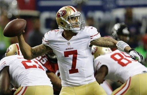  San Francisco 49ers' quarterback Colin Kaepernick passes during the first half of the NFL football NFC Championship game against the Atlanta Falcons Sunday, Jan. 20, 2013, in Atlanta. (AP Photo/John Bazemore)