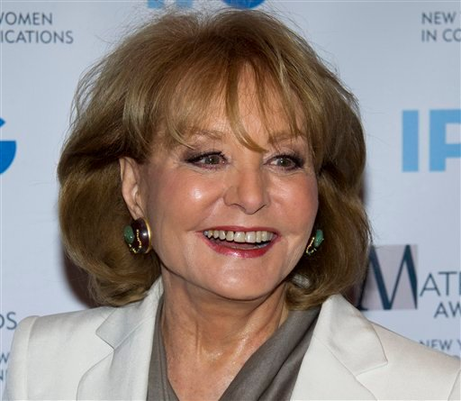 © In this Monday, April 23, 2012 photo, veteran ABC newswoman Barbara Walters arrives to the Matrix Awards in New York.
