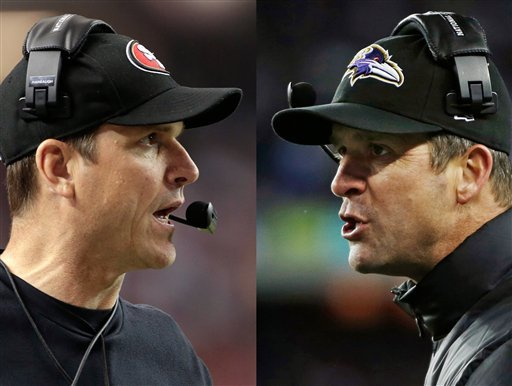 © This combo image made of Sunday, Jan. 20, 2013, photos shows San Francisco 49ers head coach Jim Harbaugh, left, in Atlanta, and Baltimore Ravens head coach John Harbaugh in Foxborough, Mass., during their NFL football conference championship games.