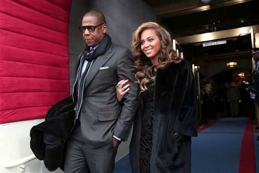 © Recording artists Jay-Z and Beyonce arrive on the West Front of the Capitol in Washington, Monday, Jan. 21, 2013, for the Presidential Barack Obama's ceremonial swearing-in ceremony during the 57th Presidential Inauguration.