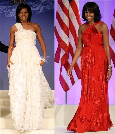 © This combo image shows first lady Michelle Obama as she arrives at the Inaugural Ball in Washington on Jan. 21, 2009, left, and Jan. 21, 2013, right.
