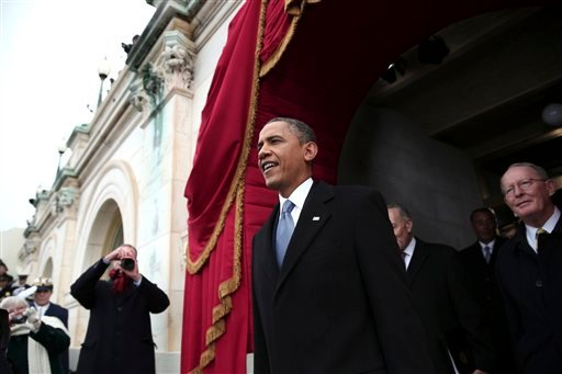 © President Barack Obama arrives on the West Front of the Capitol in Washington, Monday, Jan. 21, 2013, for his ceremonial swearing-in ceremony during the 57th Presidential Inauguration.