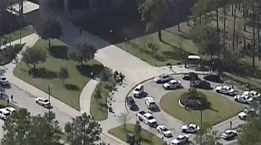 This frame grab provided by KPRC Houston shows the scene at Lone Star College Tuesday, Jan. 22, 2013, in Houston, where law enforcement officials say the community college is on lockdown amid reports of a shooter on campus.  (AP Photo/Courtesy KPRC TV)