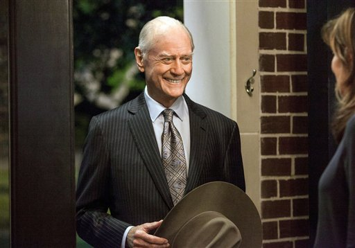"© This Oct. 2012 photo released by TNT shows actor Larry Hagman as J.R. Ewing in a scene from ""Dallas."""