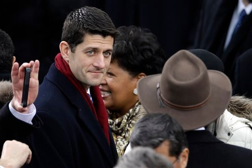 © Rep. Paul Ryan, R-Wis., arrives at the ceremonial swearing-in for President Barack Obama at the U.S. Capitol during the 57th Presidential Inauguration in Washington, Monday, Jan. 21, 2013. (AP Photo/Carolyn Kaster)