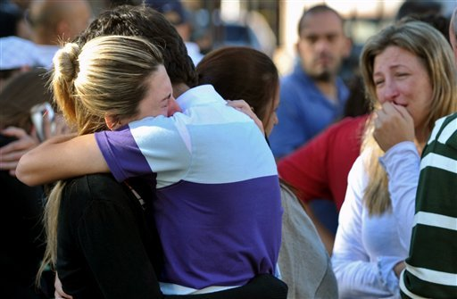 © Relatives of victims react near the Kiss nightclub in Santa Maria city, Rio Grande do Sul state, Brazil, Sunday, Jan. 27, 2013. According to police more than 200 died in the devastating nightclub fire in southern Brazil.