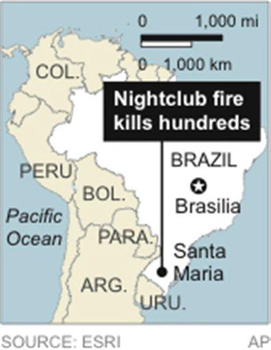 © Map locates Santa Maria, Brazil.