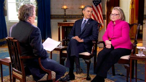   In this Jan. 25, 2013 file image taken from video and provided by CBS, President Barack Obama, center, and Secretary of State Hillary Rodham Clinton speak with 60 Minutes correspondent Steve Kroft, left, in the Blue Room of the White House.