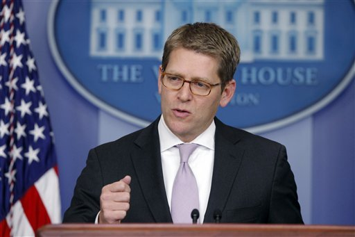 Press Secretary Jay Carney briefs reporters at the White House in Washington, Monday, Jan. 28, 2013. (AP Photo/Charles Dharapak)