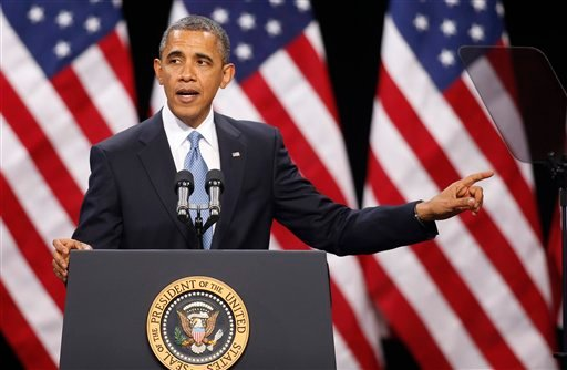 President Barack Obama speaks about immigration reform Tuesday, Jan. 29, 2013, at Del Sol High School in Las Vegas. (AP Photo/Isaac Brekken)