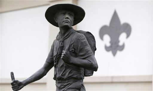 A statue of a Boy Scout stands in front of the National Scouting Museum, Monday, Jan. 28, 2013, in Irving, Texas. (AP)