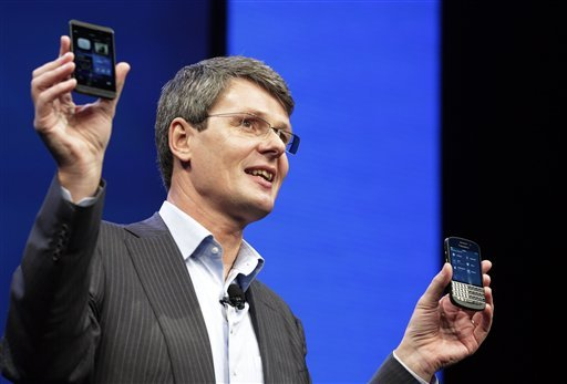 Thorsten Heins, CEO of Research in Motion, introduces the BlackBerry 10, Wednesday, Jan. 30, 2013 in New York. (AP)