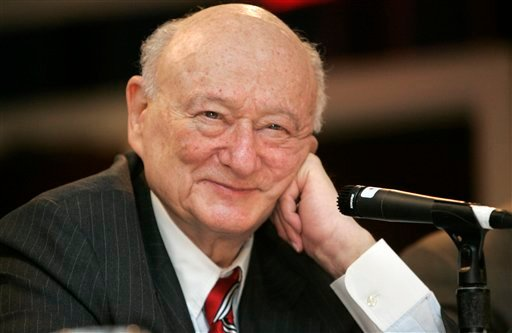 © In this April 18, 2007, file photo, former New York Mayor Ed Koch listens during the 9th annual National Action Network convention in New York.