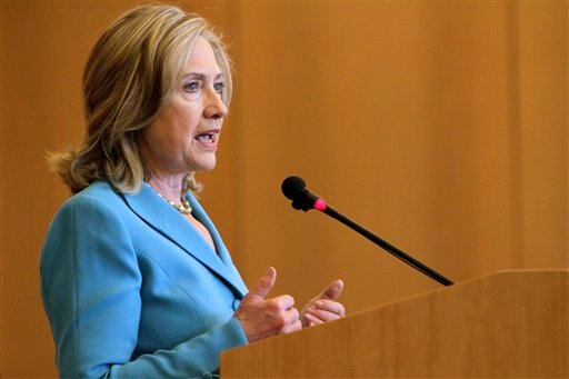 © In this May 6, 2011, file photo, Secretary of State Hillary Rodham Clinton gives a speech on food security and nutrition at the UN Food and Agriculture Organization in Rome.