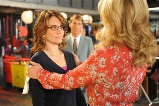 This image released by NBC shows Tina Fey as Liz Lemon, left, and Jane Krakowski as Jenna Maroney in a scene from the series finale of &quot;30 Rock,&quot; airing Thursday, Jan. 31, 2013 on NBC. (AP Photo/NBC, Ali Goldstein)
