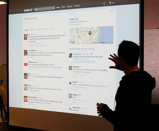 In this Sept. 14, 2010 file photo, Twitter CEO Evan Williams makes a presentation about changes to the social network at Twitter headquarters in San Francisco. (AP Photo/Marcio Jose Sanchez, File)