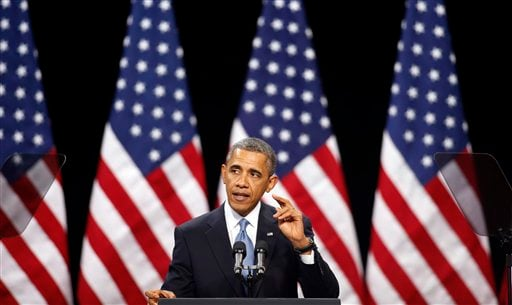 In this Jan. 29, 2013, file photo, President Barack Obama speaks about immigration reform Tuesday, Jan. 29, 2013, at Del Sol High School in Las Vegas. (AP Photo/Isaac Brekken, File)