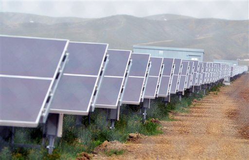 In this Tuesday, Aug. 3, 2011 file photo, solar panels are seen at the NRG Solar and Eurus Energy America Corp.'s 45-megawatt solar farm in Avenal, Calif. (AP Photo/The Sentinel, Apolinar Fonseca, File)